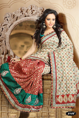 white and red colour saree