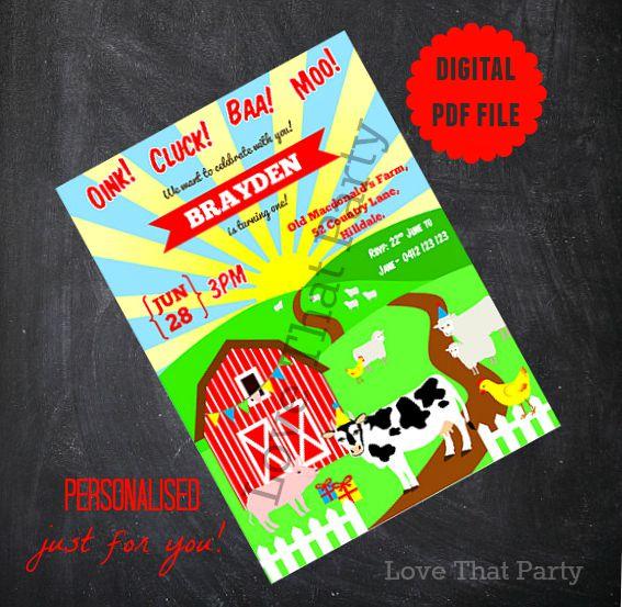 printable farm animalinvitation, birthday invitation, farm animals, barnyard, farmyard, 1st birthday, invitation