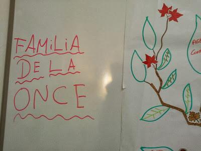 La imagen muestra una pizarra y un letrero que pone familia de la once