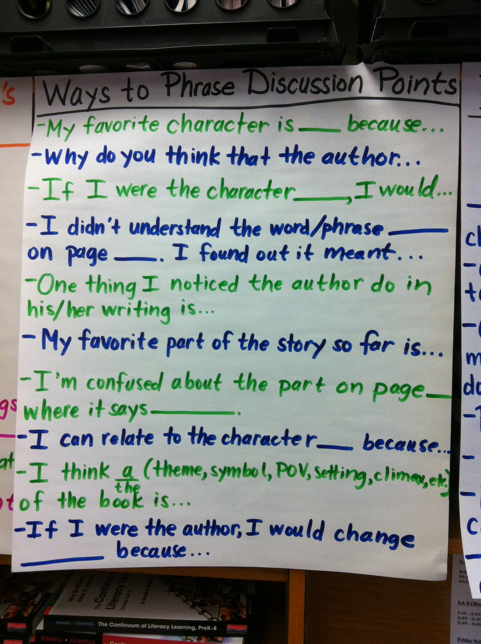What are six sentence starters?