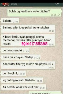 Testimoni pengguna penapis air murah dan berkualiti get clean water pitcher