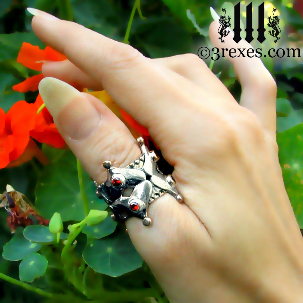 gothic crown wedding ring sterling silver with garnet stones