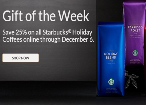 Starbucks Online Gift of the Week 25% Off Holiday Coffee