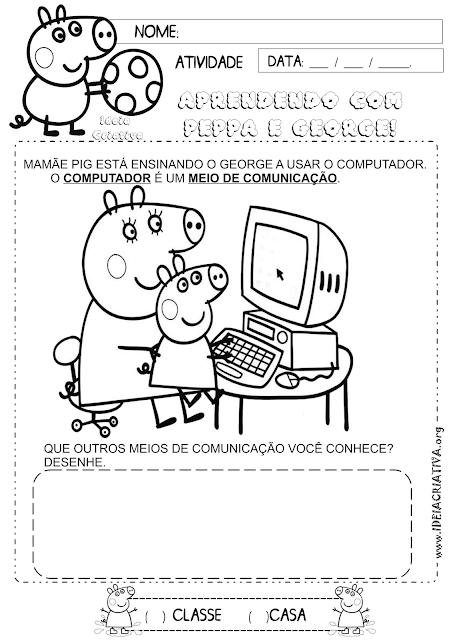 Atividade Meios de Comunicação Peppa Pig
