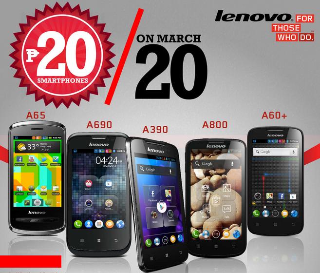 20 Pesos Sale, Lenovo Mobile Philippines