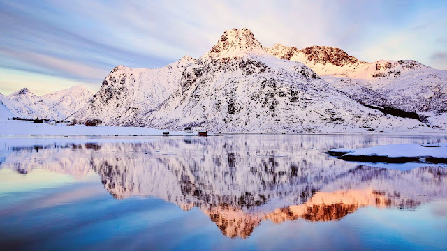 Norway Winter Scenery Snow Mountains Sky Lake Water Reflection HD Wallpaper
