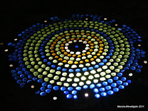 illuminated glass mosaic table top centre