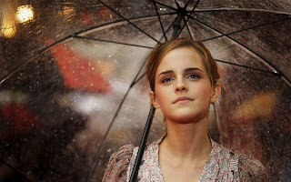 Emma Watson with Transparent Umbrella HD Wallpaper