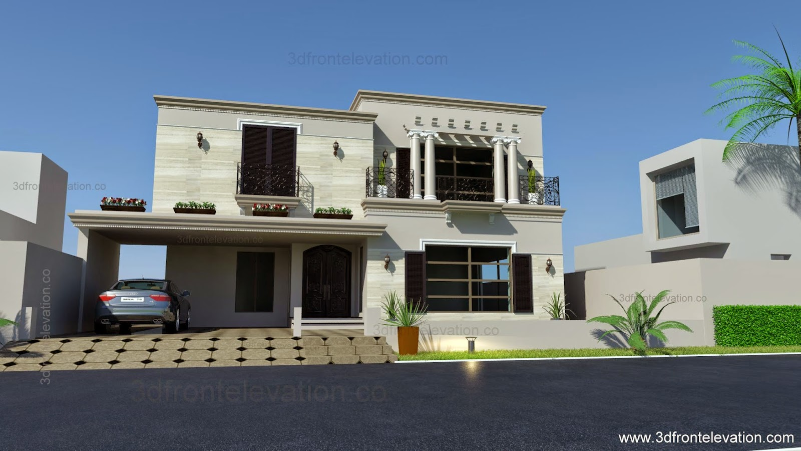 3d Front 1 Kanal Spanish House Design Plan