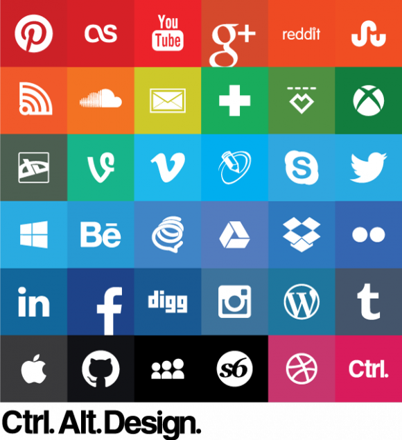 Color Flat social icons