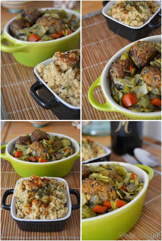 Alb ndigas veganas en salsa de puerro y acompa amiento de - Acompanamiento para albondigas ...