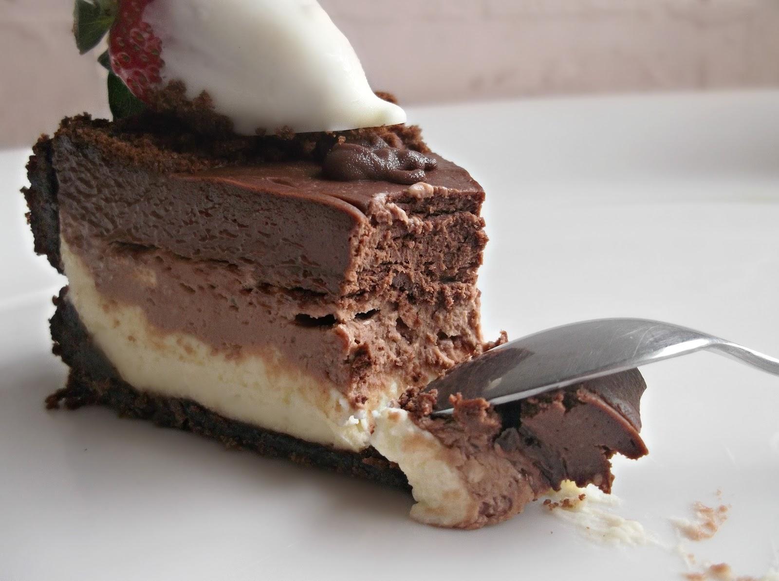 Lick The Spoon: No Bake Triple Chocolate Layer Cheesecake