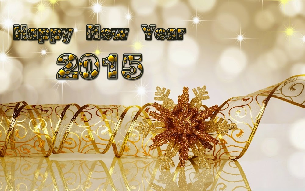 Christmas Ribbon Star Happy New Year Greeting Cards 2015