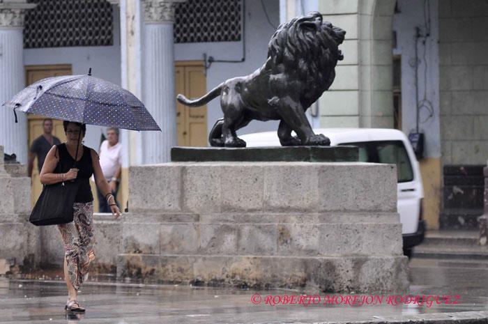 Una mujer camina bajo la lluvia en el Paseo del Prado en La Habana, Cuba, el 15 de febrero de 2013.