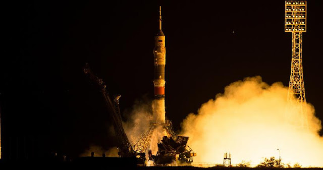 The Soyuz TMA-17M rocket launches from the Baikonur Cosmodrome in Kazakhstan on Thursday, July 23, 2015 carrying Expedition 44 Soyuz Commander Oleg Kononenko of the Russian Federal Space Agency (Roscosmos), Flight Engineer Kjell Lindgren of NASA, and Flight Engineer Kimiya Yui of the Japan Aerospace Exploration Agency (JAXA) into orbit to begin their five month mission on the International Space Station. (Photo Credit: NASA/Aubrey Gemignani)