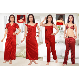 Buy Magical Maroon set of 6 pcs. Nightwear Rs. 499 only at ShopClues.