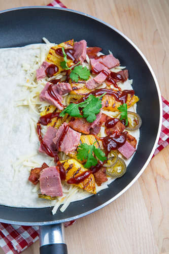BBQ Ham, Bacon and Pineapple Quesadillas (aka BBQ Hawaiian Pizza Quesadillas)