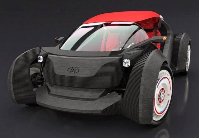 O Strati, como foi batizado o carro, tem carenagem, rodas e vários acessórios impressos em 3D de uma só vez