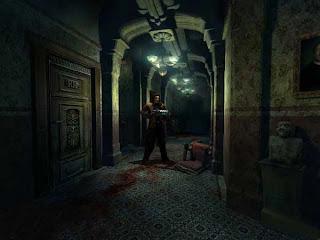 Edward Carnby dentro da mansão Morton, procurando por Aline Cedrac
