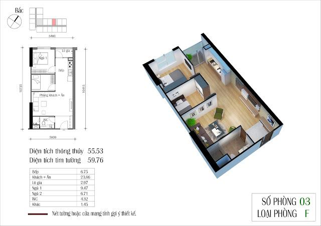 Thiết kế căn hộ số 3 dự án Eco Green City