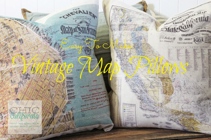 http://chiccalifornia.com/2014/01/07/easy-vintage-map-pillows/