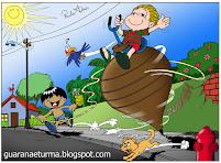 Guaraná e Pirrixa descobriram um novo meio de transporte.