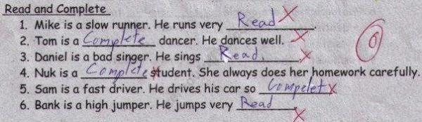 Jawaban absurd dalam ulangan