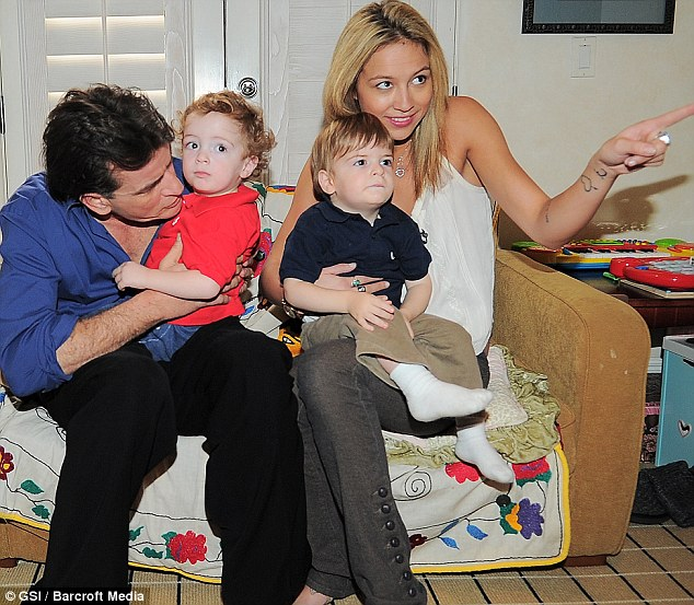 Charlie Sheen Poses With Twin Boys & Porn Stars!