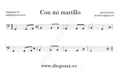 Con mi martillo partitura para Trombón, Tuba, Violonchelo, Fagot, Bombardino... en clave de Fa en si la sol