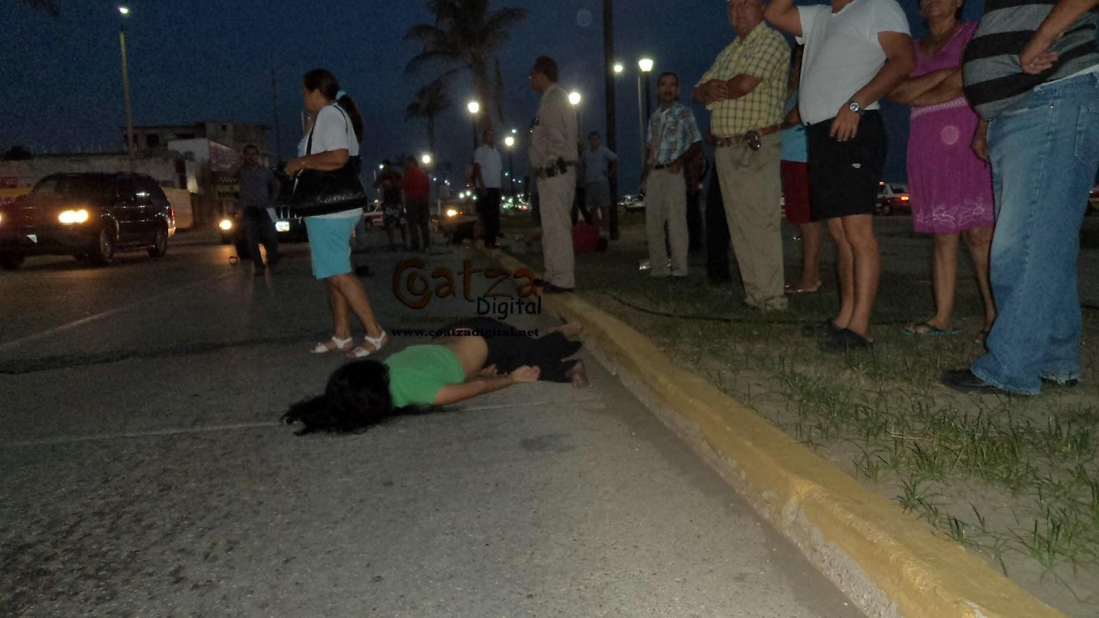 joven tras accidente de motocicleta en Malecón Costero de Coatza