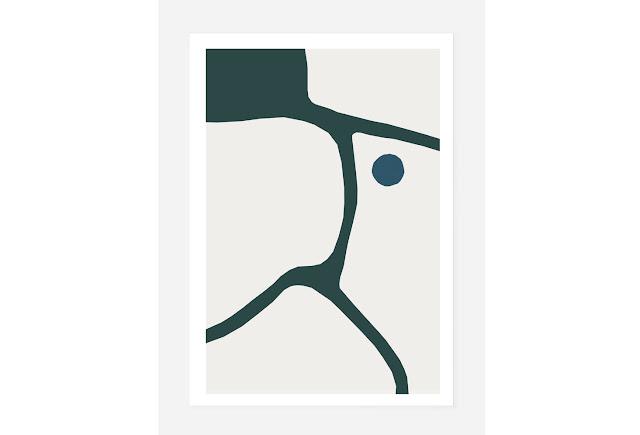Kunstprint med signering og nummerering af Caroline Sillesen. Blå og grøn i den bedste kombination