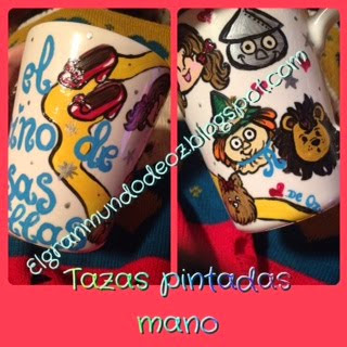 TAZAS PINTADAS A MANO CON DIBUJOS