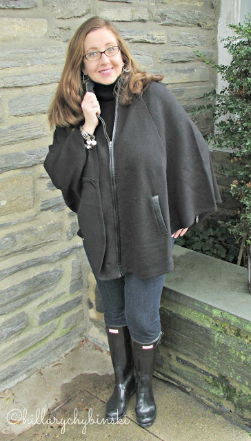 A Simple Black Cape Makes a Great Alternative to a Coat