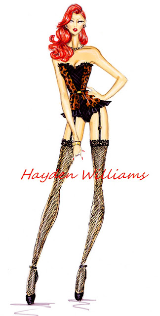 hayden williams fashion illustrator leopard print corset fashion sketch drawings