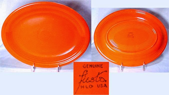 Vintage Fiesta Red Platter Showing HLC Fiesta Mark on Back