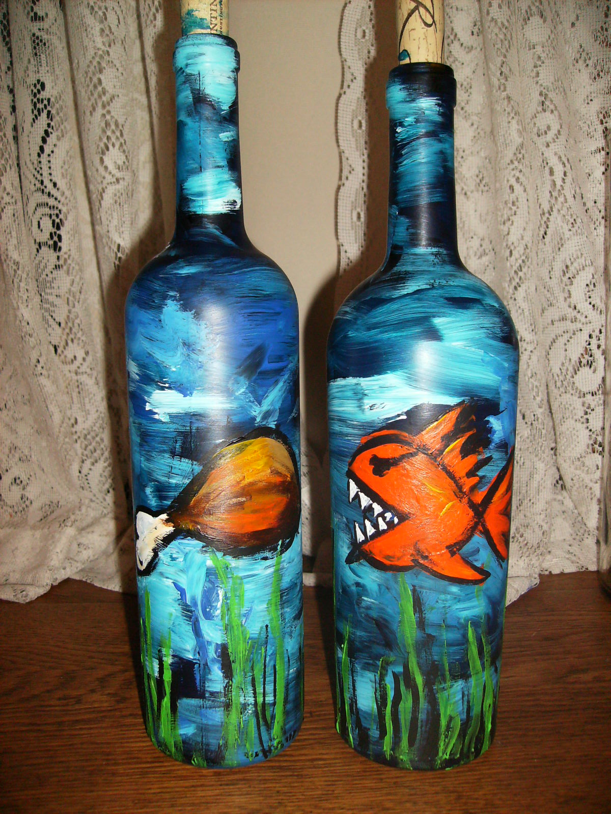 b martin art wine bottle painting