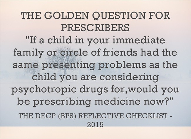 Challenging Over-prescription of psychoactive drugs by Professionals in Education for Young People