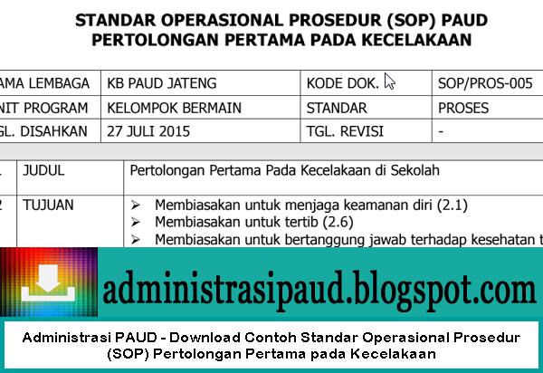 Administrasi PAUD - Download Contoh Standar Operasional Prosedur (SOP) Pertolongan Pertama pada Kecelakaan