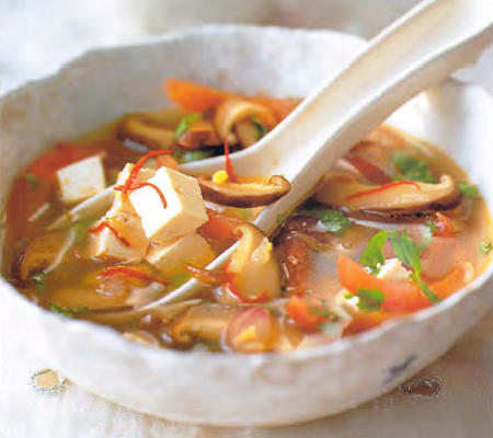 Tofu soup with Mushrooms Tomato Ginger and Coriander Recipes