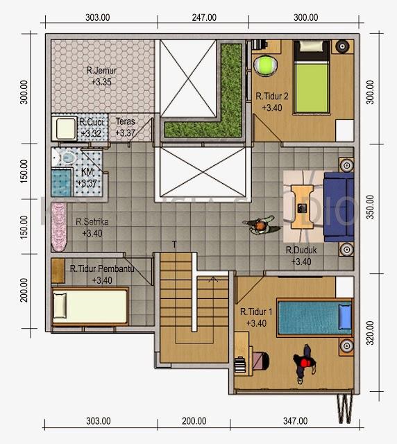 sketsa denah rumah sederhana 3 kamar tidur