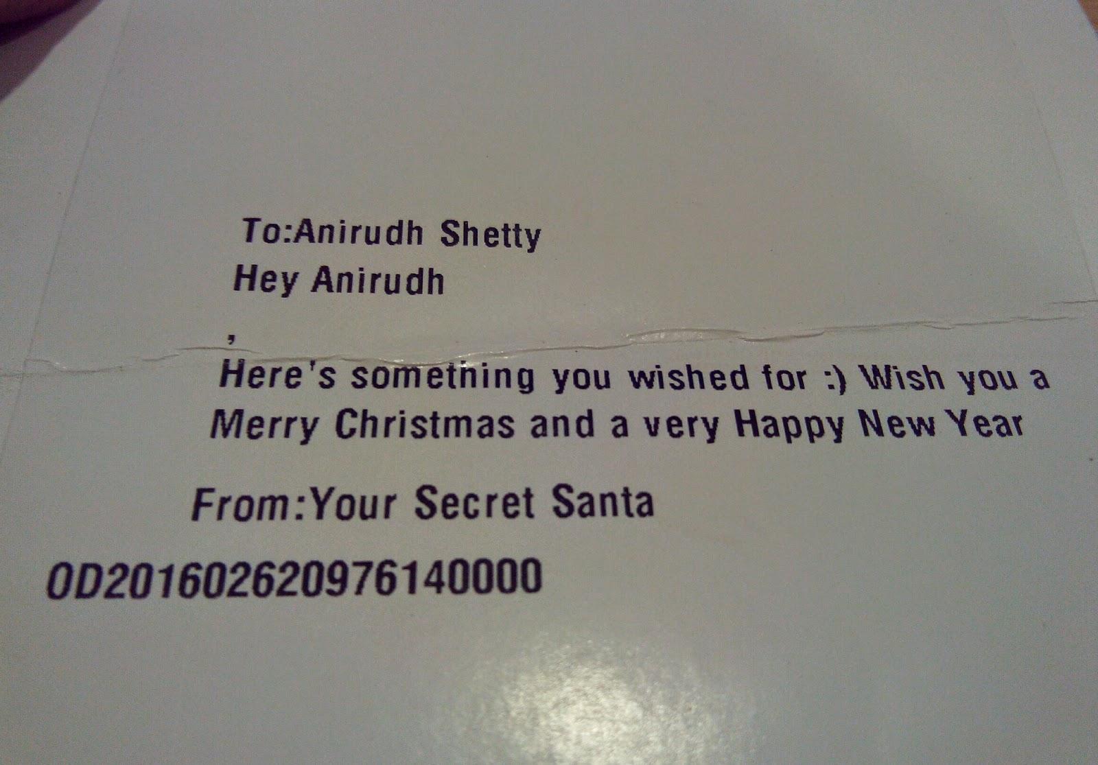 MySanta.in Secret Santa Message