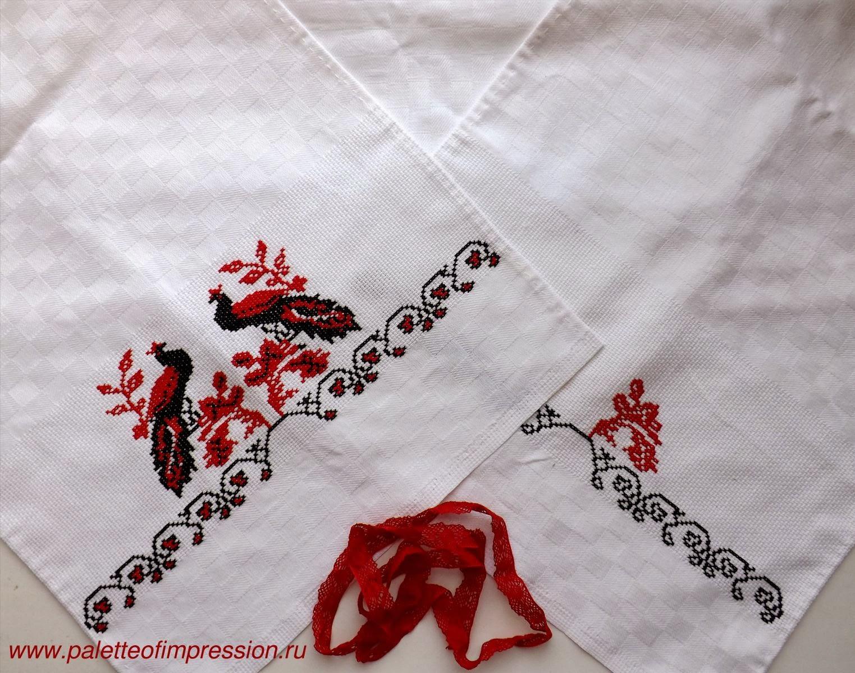 Работа в процессе ее создания. Свадебный рушник, вышитый крестиком. Блог Вся палитра впечатлений.