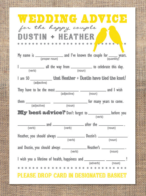 Personalized Wedding Advice Mad Libs | Just Be Loved