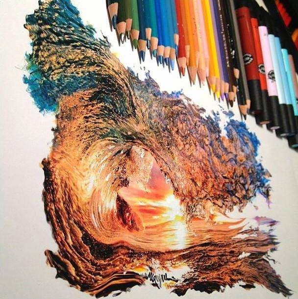 46 Unbelievable Photos That Will Shock You - Intricate Colored Pencil Drawing of a Wave