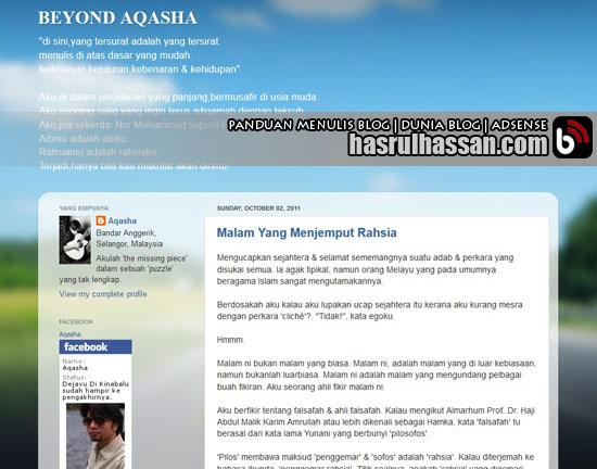 Blog Pelakon Kacak - Aqasha