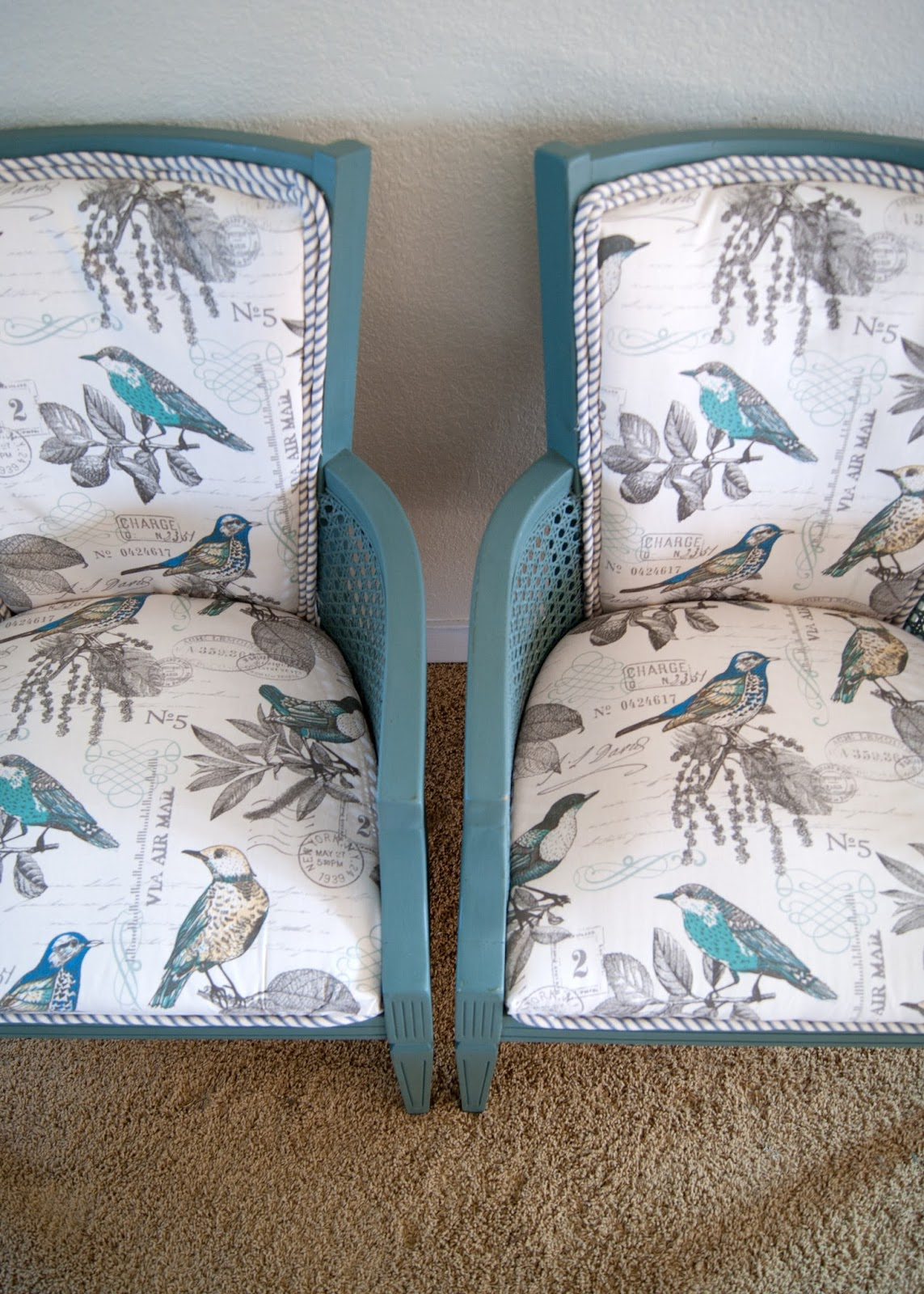 Chair Upholstering 101 - the unprofessional guide to giving a chair a makeover - caned chairs, mattress ticking, bird fabric