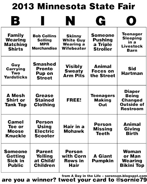 2013 minnesota state fair bingo card