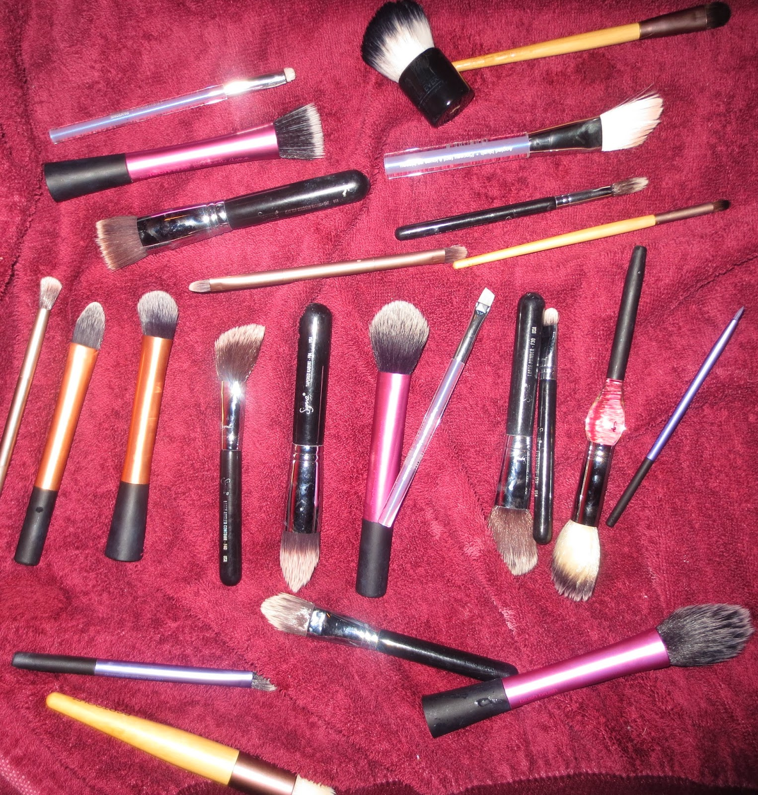 Makeup Brushes Drying on Towel