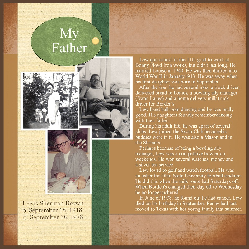 family history scrapbook layout