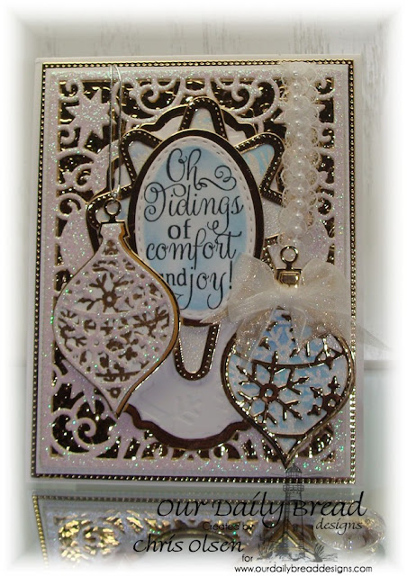 Our Daily Bread Designs, Elegant Embellishments, Christmas Carols, Snowflake background; ODBD Dies: Elegant Embellishments, Flourished Star Pattern, Elegant Ovals, Stitched Ovals, Ovals, Splendorous Stars, Designed by Chris Olsen